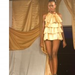 bn fashion show gold ruffled shirt runway