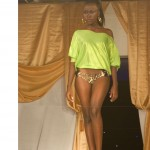 bn fashion show lime green blouse runway walk