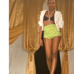bn fashion show lime green high-waisted shorts runway walk
